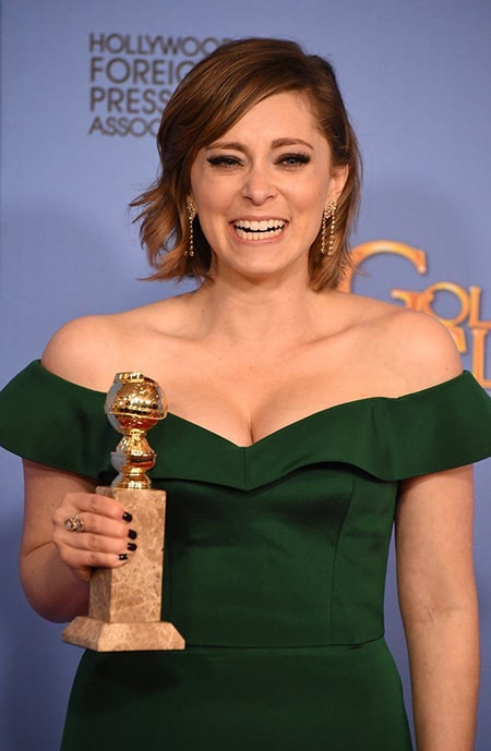Rachel Bloom after winning the Golden Globes Award
