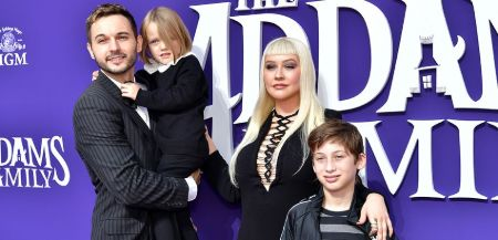 Christina Aguilera with fiance, Matthew Rutler, son Max, and daughter Summer Rain