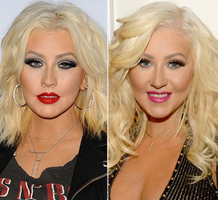 Before and After shot of Christina Aguilera