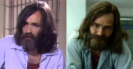 The real-life Charles Manson and Damon Herriman's portrayal on Mindhunter