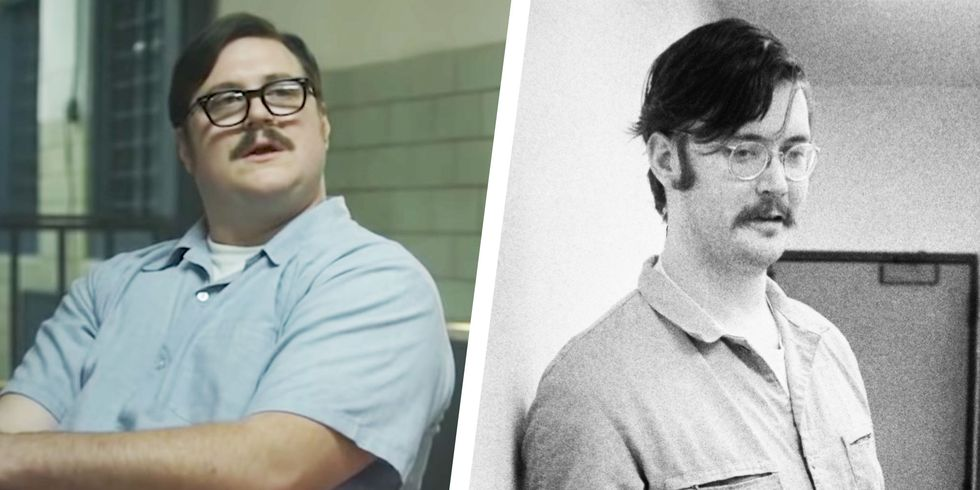 Side-by-side comparison of Cameron Britton as Ed Kemper and the real-life Ed Kemper