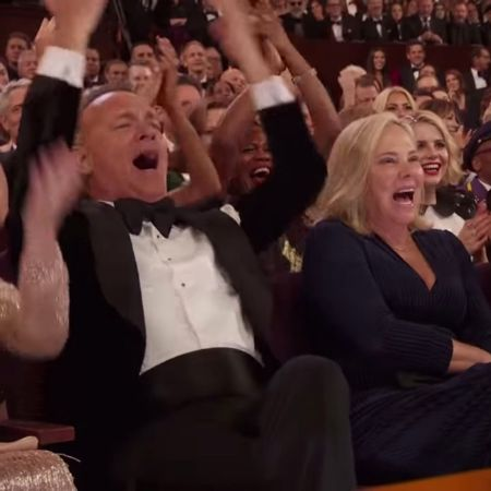 Hanks was one of the audience members cheering to turn on the lights