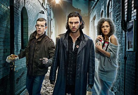 Left to Right: Russell Tovey as George Sands, Aidan Turner as James Mitchell, and  Lenora Crichlow as Annie Sawyer in Being Human