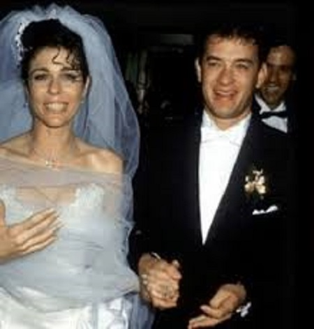 Samantha Lewes and Tom Hanks on their wedding day