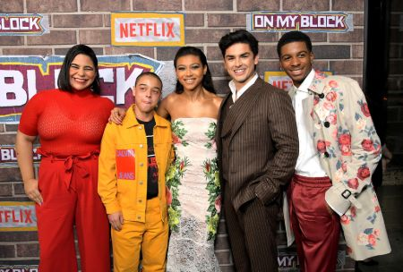 Jessica Marie Garcia with the cast of On My Block